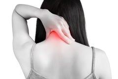 Острая боль и симптом боли в горле в женщине изолированной на белой предпосылке Путь клиппирования на белой предпосылке стоковое фото