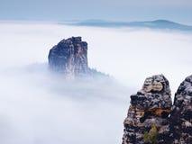 Острая империя утеса песчаника вставляя вне от густого тумана Глубокая туманная долина Стоковые Изображения