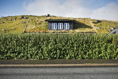 острова дома faroe настилают крышу дерновина Стоковая Фотография RF