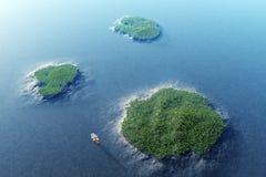 острова 3d представляют корабль тропическим Стоковые Фотографии RF