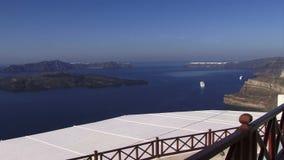 Острова Santorini греческие смотря съемку укладки в форме перспективы акции видеоматериалы