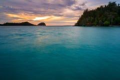 Острова Togean на заходе солнца Индонезия Стоковое Изображение