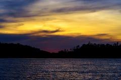 Острова Togean на заходе солнца Индонезия Стоковые Фото