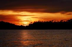 Острова Togean на заходе солнца Индонезия Стоковая Фотография