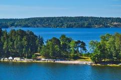 Островки архипелага Стокгольма в Балтийском море, Швеции Стоковое Изображение RF