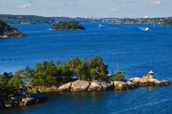 Островки архипелага Стокгольма в Балтийском море, Швеции Стоковая Фотография