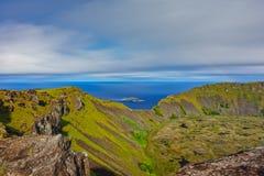 Островки matu Tangata и долгая выдержка Kau Rano в Rapa Nui стоковое фото