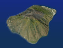 Остров вулкана Stromboli, Эоловых островов, Сицилии Италии Стоковая Фотография