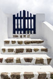 Остров в Кикладах, классический взгляд Santorini визирований в fira Стоковое фото RF