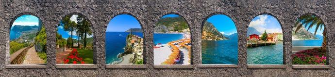 Остров в побережье Средиземного моря, Неаполь Капри, красивых и известных Италия коллаж Стоковые Изображения RF
