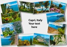 Остров в побережье Средиземного моря, Неаполь Капри, красивых и известных Италия коллаж Стоковая Фотография RF