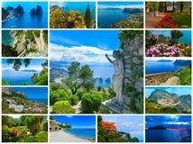 Остров в побережье Средиземного моря, Неаполь Капри, красивых и известных Италия коллаж Стоковые Изображения