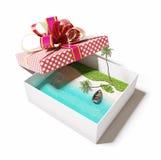 Остров в подарочной коробке иллюстрация штока