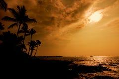 Остров Гаваи захода солнца Kona большой стоковое изображение rf