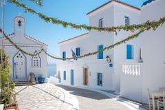 Остров Греция Andros деревенской площади Стоковые Фотографии RF