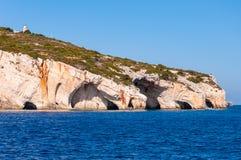Остров Закинфа, Греция Праздники культуры и моря и горы Пещеры keri стоковые фото