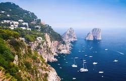 остров Италия capri Побережье Средиземного моря Стоковая Фотография RF
