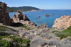 Остров Италия Paradiso Сардинии Косты пляжа Li Cossi Стоковые Изображения RF