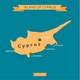 Остров Кипра, с городами метки на ем вектор Стоковое Фото