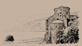 Остров Крита, руины крепости на пляже Греция иллюстрация иллюстрация штока