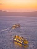 остров круиза с кораблей santorini Стоковое фото RF