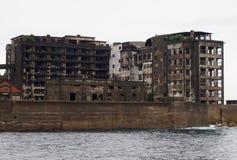 Остров линкора Gunkanjima в Нагасаки Японии Стоковая Фотография