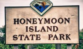 Остров медового месяца подписывает внутри Флориду Стоковое Фото