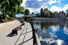 Остров мельницы - река Brda в Bydgoszcz - Польше Стоковые Фотографии RF
