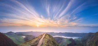 Остров Мигеля Sao и озеро Ponta Delgada, Азорские островы Стоковая Фотография
