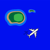 Остров моря мухы самолета иллюстрация вектора
