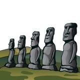 остров пасхи Каменные идолы Стоковое Изображение RF