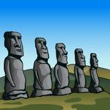 остров пасхи Каменные идолы Стоковые Фото