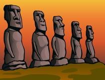 остров пасхи Каменные идолы Стоковое Фото