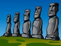 остров пасхи Каменные идолы Стоковые Фотографии RF