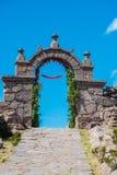 Остров перуанские Анды Taquile ворот на Puno Перу Стоковые Фото