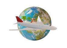 Остров самолета и глобус 3d-illustration земли планеты элементы Стоковые Изображения RF