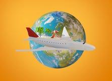 Остров самолета и глобус 3d-illustration земли планеты элементы Стоковое Изображение RF
