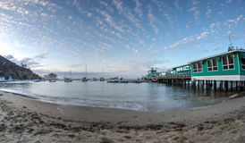 Остров Санты Каталины залива Avalon на сумерк Стоковое фото RF