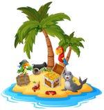 Остров сокровища шаржа Стоковое Изображение