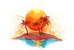 остров солнечный иллюстрация штока