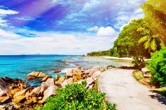 остров тропический Сейшельские островы Стоковое Изображение