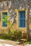 Остров тюрьмы, Занзибар, Танзания Голубые оконные рамы на желтом цвете стоковое фото rf