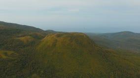 Остров Филиппины Camiguin тропического леса вечера вида с воздуха сток-видео