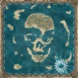 Остров черепа, картоведение карты острова формируя форму черепа иллюстрация вектора