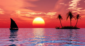 остров шлюпки бесплатная иллюстрация