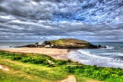 Остров южный Девон Англия Великобритания Бурга около Bigbury-на-моря на южном пути западного побережья в ярком ярком красочном HD Стоковые Изображения RF