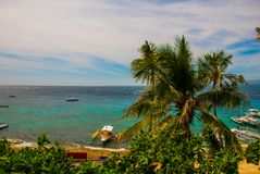 Остров Apo, Филиппины, взгляд на линии пляжа острова Пальмы, море и шлюпки Стоковые Изображения RF