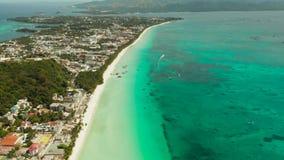 Остров Boracay с белым песчаным пляжем, Филиппинами сток-видео