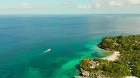 Остров Boracay с белым песчаным пляжем, Филиппинами акции видеоматериалы