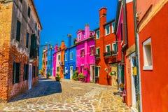 Остров Burano, красочные дома стоковые изображения rf
